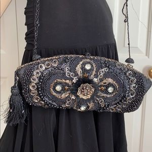 Mary Frances Beaded Black/gold clutch w/ strap.